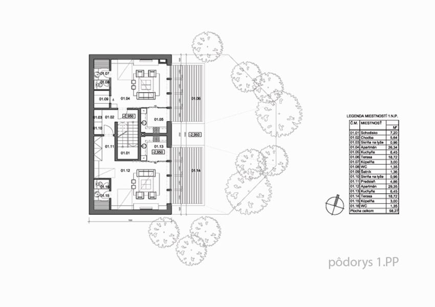 3-cokoladovna-apartmany-novostavba-stare-hory-podorys-1PP