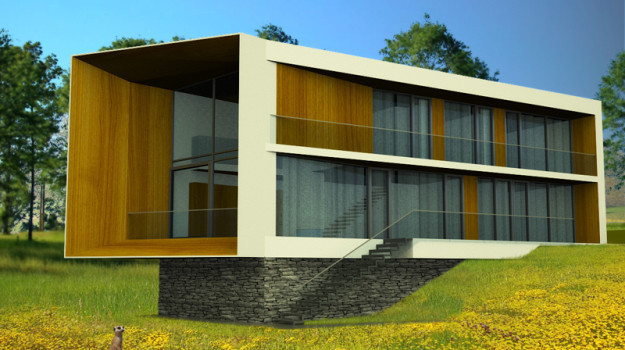 rodinny-dom-novostavba-zahorska-bystrica-01-nizkoenergeticky-navrh-domu-moderny-plocha-strecha-architekt-biela-fasada-dreveny-obklad