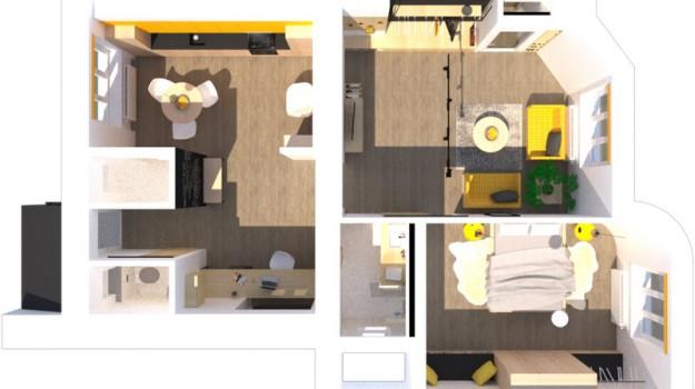 interier-bytu-rekonstrukcia-Bratislava-stare-mesto-3D-podorys-moderna-kuchyna-jedalen-spalna-obyvacia-izba-kupelna-predsien-interierovy-navrh-2-izbovy-tehlovy-byt-industrialny-styl-dizajner-v-bratislave