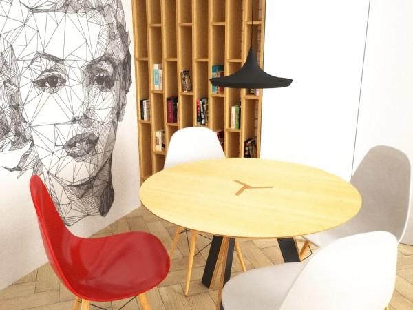 Interier-bytu-rekonstrukcia-Strkovecke-jazero-Bratislava-08-zmena-dispozicie-prakticka-premena-3-izbovy-byt-krasna-jedalen-pop-art-malba-Marilyn-na-stene-interierovy-dizajn-byt-navrhnuty-architektom