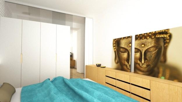 Interier-bytu-rekonstrukcia-Strkovecke-jazero-Bratislava-11-interierovy-dizajner-zmena-dispozicie-prakticka-premena-3-izboveho-interieru-romanticka-moderna-spalna-obraz-budha
