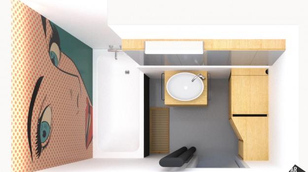Interier-bytu-rekonstrukcia-Strkovecke-jazero-Bratislava-14-zmena-dispozicie-prakticka-premena-3-izbovy-byt-krasna-kupelna-pop-art-malba-na-stene-interierovy-dizajn-v-bratislave
