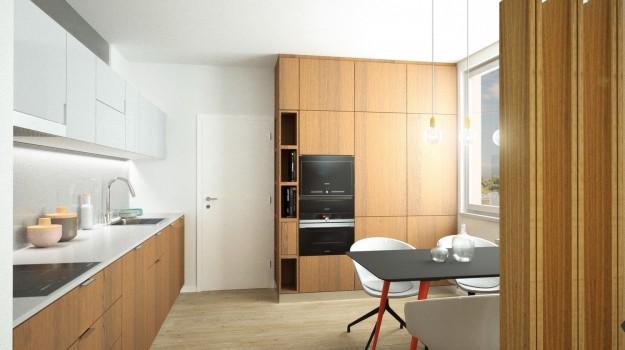 interier-byt-rekonstrukcia-Dibrovova-ul-Stara-Tura-05-variant-1-navrh-od-architekta-interierovy-dizajn-archilab-moderna-kuchyna-biela-pracovna-doska-orechove-drevo-kuchynske-dvierka-vstavane-spotrebice