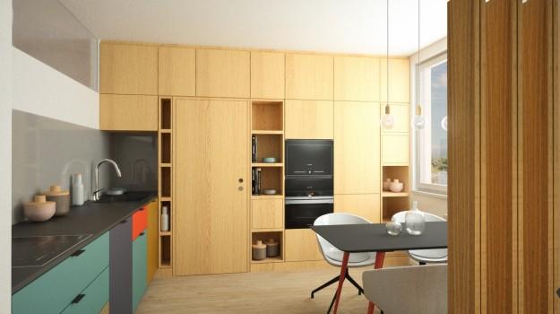 interier-byt-rekonstrukcia-Dibrovova-ul-Stara-Tura-06-variant-2-navrh-od-architekta-interierovy-dizajn-archilab-moderna-kuchyna-cierna-pracovna-doska-farebne-kuchynske-dvierka-vstavane-spotrebice