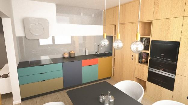 interier-byt-rekonstrukcia-Dibrovova-ul-Stara-Tura-08-variant-2-navrh-od-architekta-interierovy-dizajn-archilab-moderna-kuchyna-biela-pracovna-doska-farebne-kuchynske-dvierka-vstavane-spotrebice