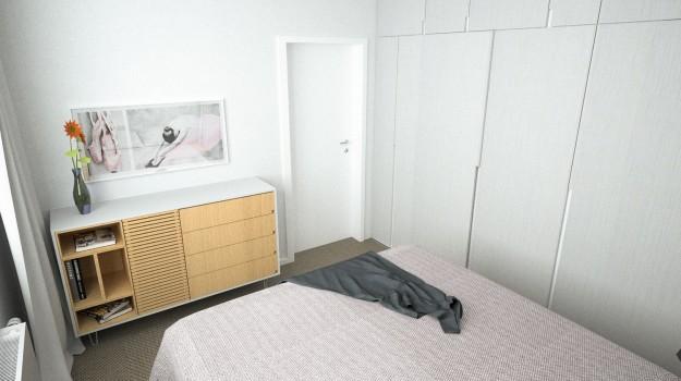 interier-byt-rekonstrukcia-Dibrovova-ul-Stara-Tura-11-navrh-od-architekta-interierovy-dizajn-archilab-romanticka-spalna-pekna-komoda-obraz-baletky-minimalismus-satnikova-skrina
