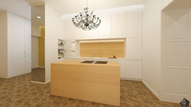 interier-historickeho-bytu-rekonstrukcia-Palisady-Bratislava-04-moderna-biela-kuchyna-dreveny-kuchynsky-ostrov-archilab-architekti-interierovy-architekt