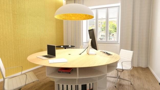 interier-historickeho-bytu-rekonstrukcia-Palisady-Bratislava-07-moderna-pracovna-kruhovy-stol-na-mieru-archilab-architekti-interierovy-architekt-minimalisticky-priestor-zlata-stena-tapeta