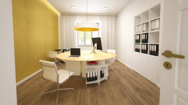 interier-historickeho-bytu-rekonstrukcia-Palisady-Bratislava-08-moderna-pracovna-kruhovy-stol-na-mieru-archilab-architekti-interierovy-architekt-minimalisticky-priestor-zlata-stena-tapeta