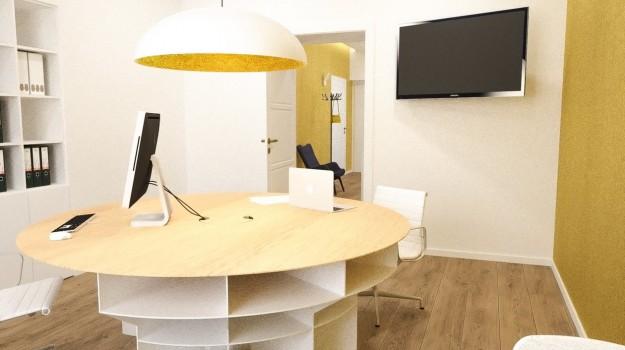 interier-historickeho-bytu-rekonstrukcia-Palisady-Bratislava-09-moderna-pracovna-kruhovy-stol-na-mieru-archilab-architekti-interierovy-architekt-minimalisticky-priestor
