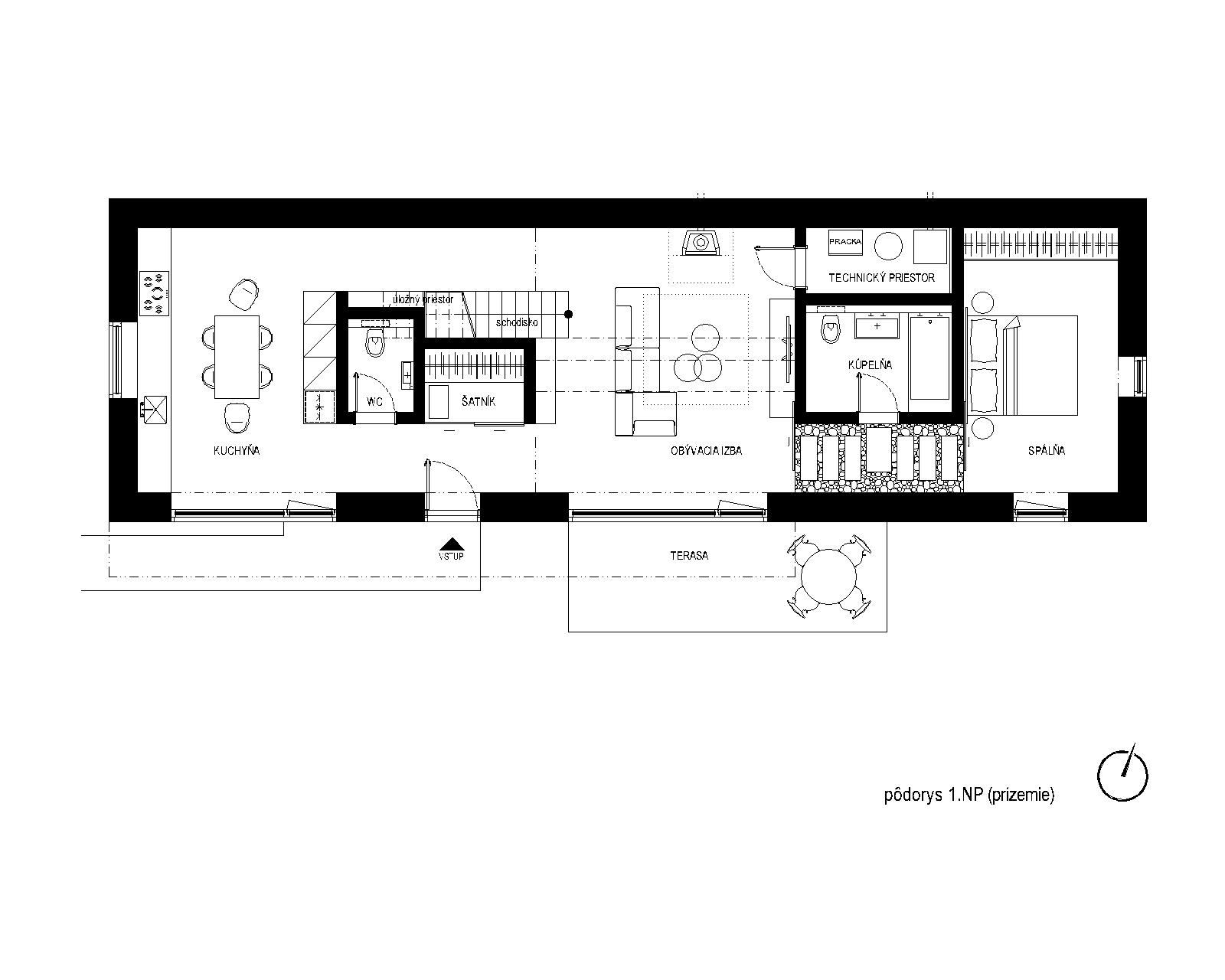 pasivny-rodinny-dom-novostavba-dubova-pri-modre-podorys-1NP-otvoreny-priestor-sedlova-strecha-podkrovny-priestor-dispozicia-navrh-od-architekta-obyvacia-izba-moderna-kuchyna