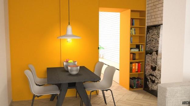 interier-bytu-rekonstrukcia-tokajicka-ul-bratislava-cierny-jedalensky-stol-zlta-skrina-priemyselny-dizajn-03